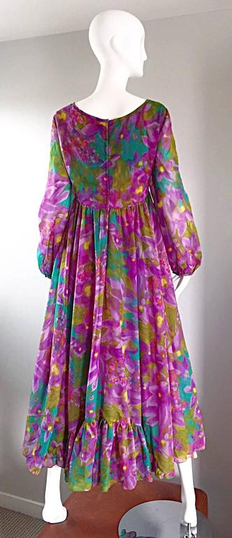 Plus Size Vintage Mr. Blackwell Gorgeous 1970s Size 22 Chiffon Maxi Dress Gown 5
