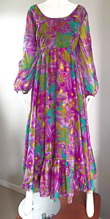 Plus Size Vintage Mr. Blackwell Gorgeous 1970s Size 22 Chiffon Maxi Dress Gown 6