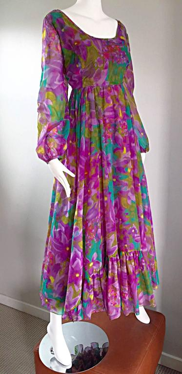 Plus Size Vintage Mr. Blackwell Gorgeous 1970s Size 22 Chiffon Maxi Dress Gown 7