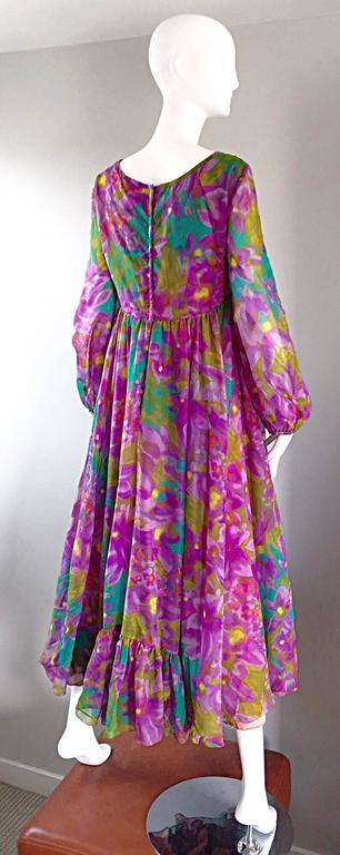 Plus Size Vintage Mr. Blackwell Gorgeous 1970s Size 22 Chiffon Maxi Dress Gown 8