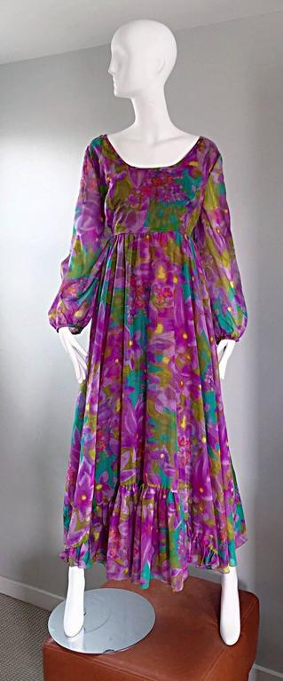Plus Size Vintage Mr. Blackwell Gorgeous 1970s Size 22 Chiffon Maxi Dress Gown 9