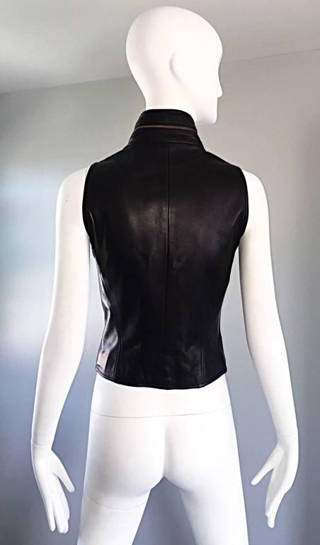 Vintage Donna Karan Black Lambskin Leather 1990s 90s Fitted Moto Vest Size 4 For Sale 1