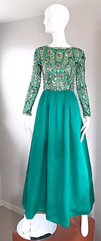 1960s Victoria Royal Kelly Green Silk Satin Sequined + Beaded Vintage Gown Dress 2