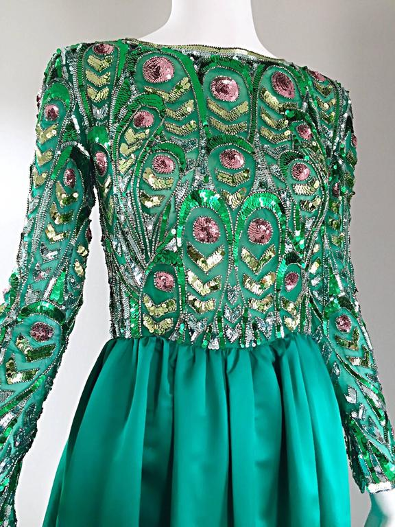 1960s Victoria Royal Kelly Green Silk Satin Sequined + Beaded Vintage Gown Dress 3