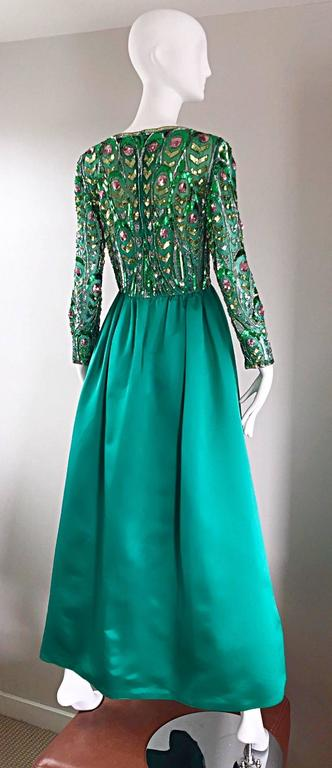 1960s Victoria Royal Kelly Green Silk Satin Sequined + Beaded Vintage Gown Dress 5