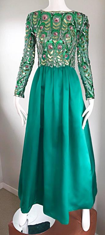 1960s Victoria Royal Kelly Green Silk Satin Sequined + Beaded Vintage Gown Dress 6