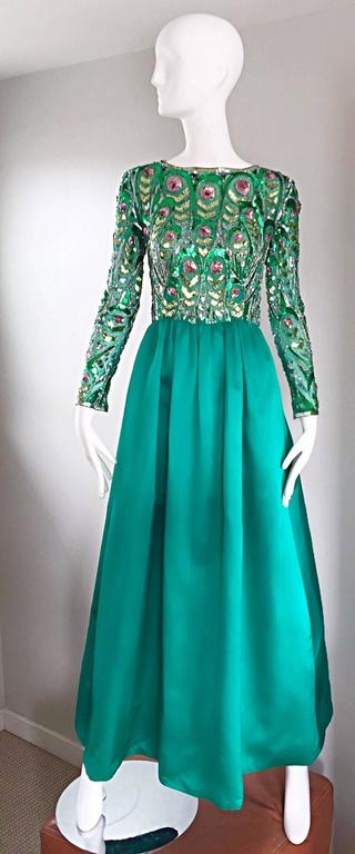 1960s Victoria Royal Kelly Green Silk Satin Sequined + Beaded Vintage Gown Dress 9