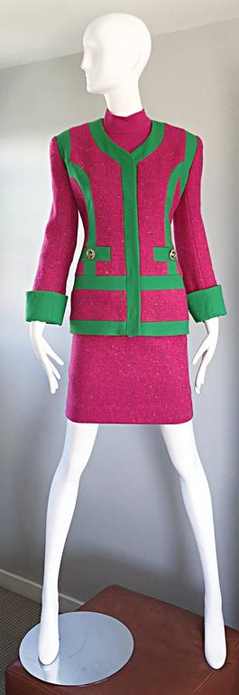 Rare vintage GEMMA KAHNG three piece skirt suit! Features a long sleeve wool top, tailored wool jacket, and a high waisted pencil skirt. Green gripoix buttons at the front pockets, and at each sleeve cuff. Suit is full lined. Great together, or as