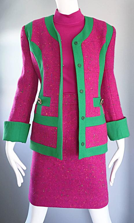 Gemma Kahng Rare Vintage 3 Piece 1990s 90s Skirt Suit In Hot Pink ...