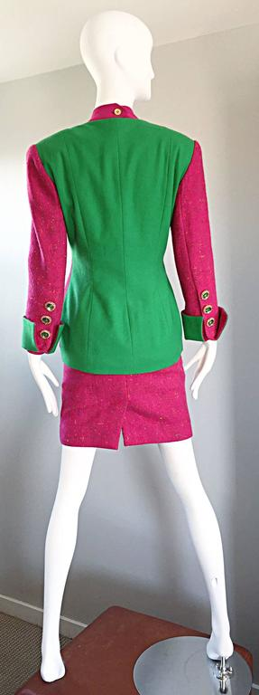 Women's 1990s Gemma Kahng Rare Vintage 3 Piece 90s Skirt Suit In Hot Pink and Green For Sale
