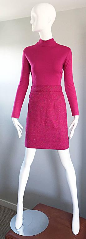 1990s Gemma Kahng Rare Vintage 3 Piece 90s Skirt Suit In Hot Pink and Green For Sale 1