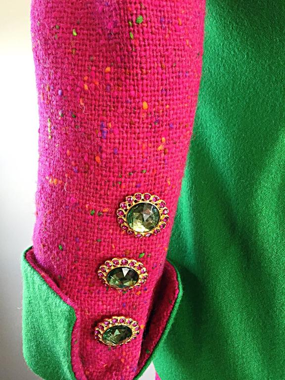 1990s Gemma Kahng Rare Vintage 3 Piece 90s Skirt Suit In Hot Pink and Green For Sale 2