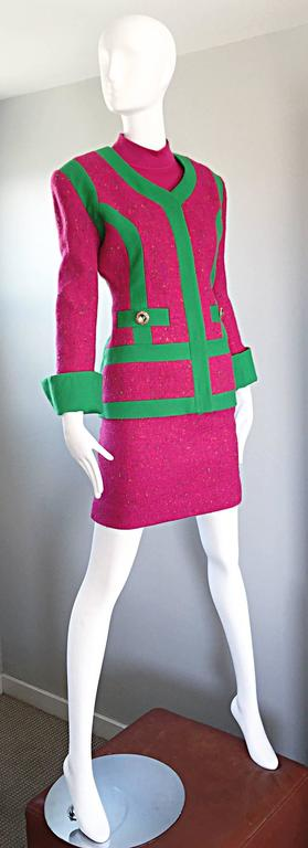 1990s Gemma Kahng Rare Vintage 3 Piece 90s Skirt Suit In Hot Pink and Green For Sale 3