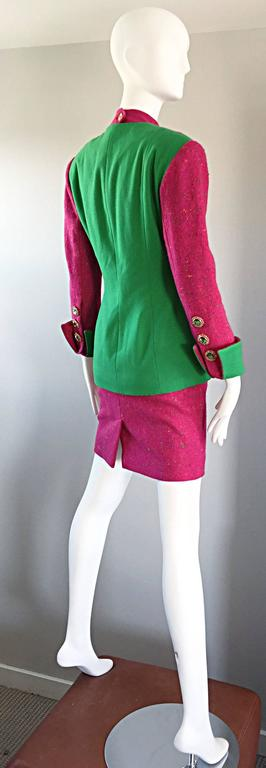 1990s Gemma Kahng Rare Vintage 3 Piece 90s Skirt Suit In Hot Pink and Green For Sale 4
