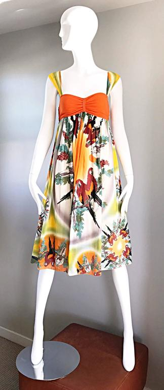 Jean Paul Gaultier Vintage 1990s ' Parrot ' Print 90s Empire Waist Boho Dress 2
