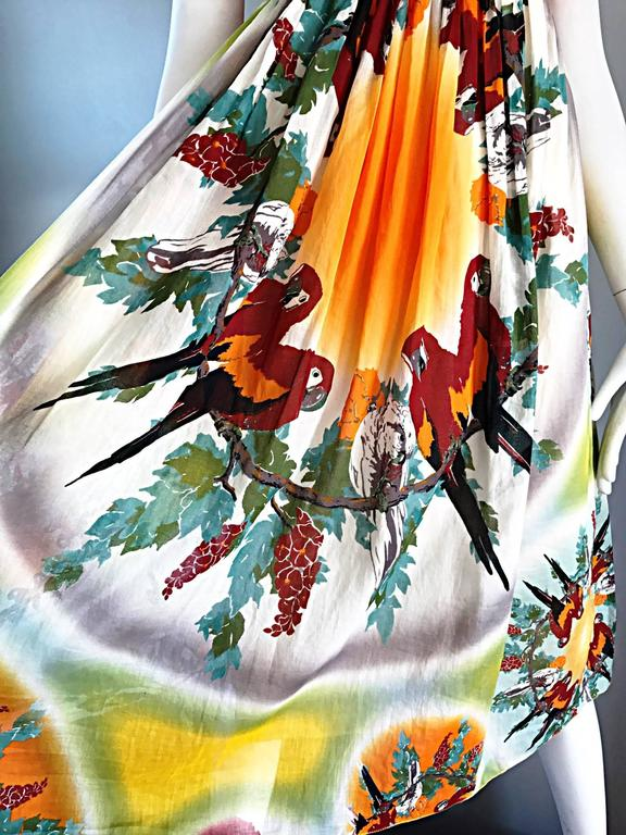 Jean Paul Gaultier Vintage 1990s ' Parrot ' Print 90s Empire Waist Boho Dress 3