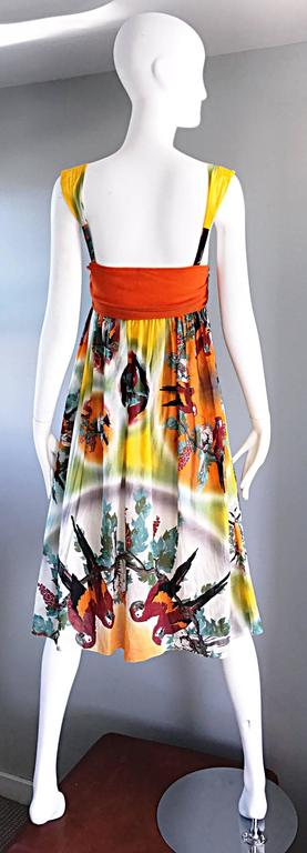 Jean Paul Gaultier Vintage 1990s ' Parrot ' Print 90s Empire Waist Boho Dress 4