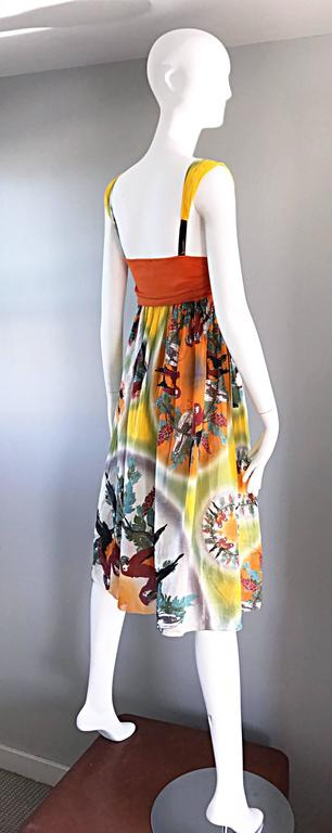 Jean Paul Gaultier Vintage 1990s ' Parrot ' Print 90s Empire Waist Boho Dress 7
