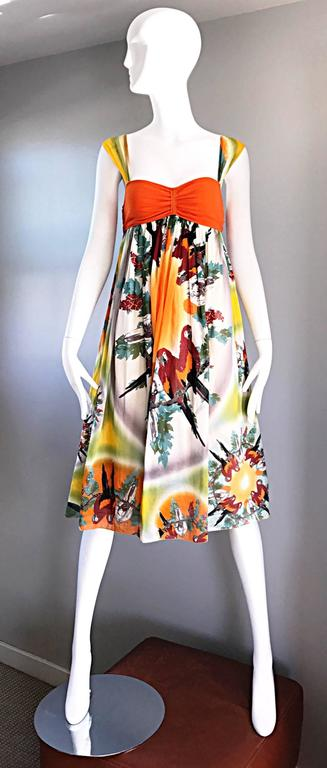 Jean Paul Gaultier Vintage 1990s ' Parrot ' Print 90s Empire Waist Boho Dress 9