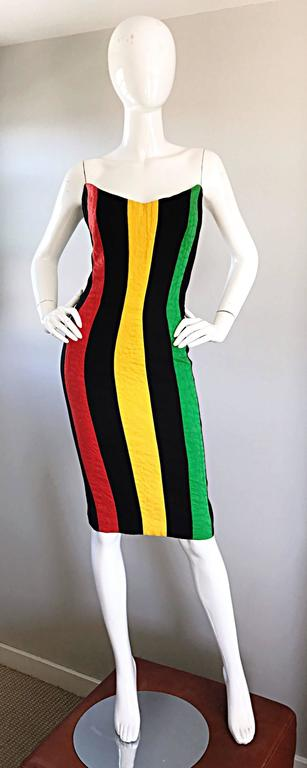 Bob Mackie Vintage Green + Yellow + Red + Black Size 12 Amazing Strapless Dress 2