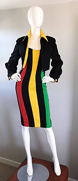 Bob Mackie Vintage Green + Yellow + Red + Black Size 12 Amazing Strapless Dress 3