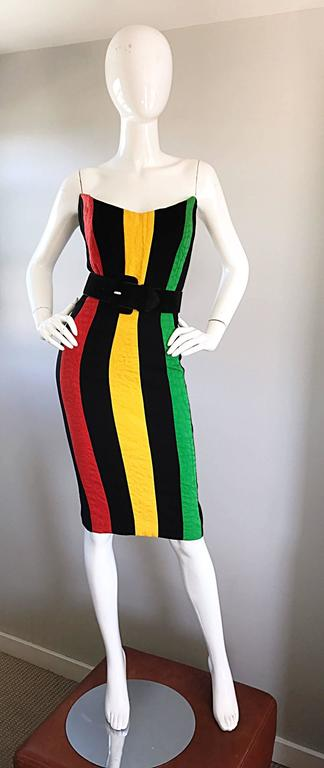 Bob Mackie Vintage Green + Yellow + Red + Black Size 12 Amazing Strapless Dress 7