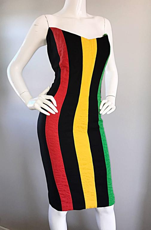 Bob Mackie Vintage Green + Yellow + Red + Black Size 12 Amazing Strapless Dress 5