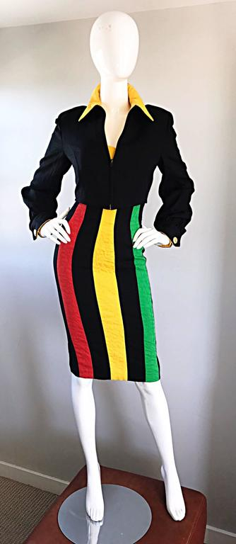 Bob Mackie Vintage Green + Yellow + Red + Black Size 12 Amazing Strapless Dress 8