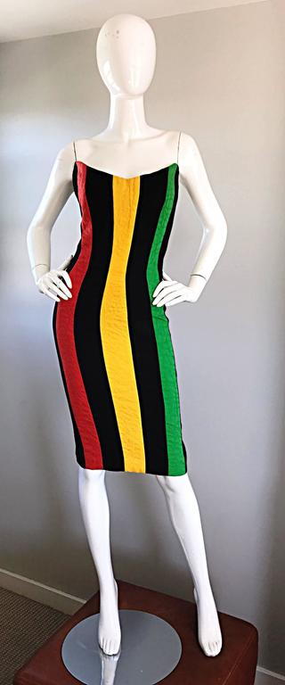 Bob Mackie Vintage Green + Yellow + Red + Black Size 12 Amazing Strapless Dress 9