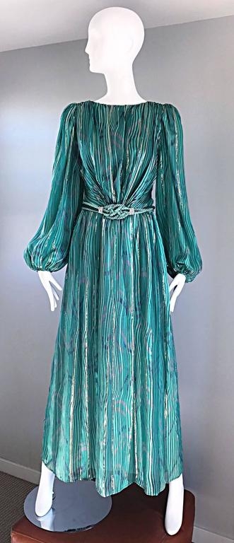 Blue 1970s Diane Dickinson Vintage Green + Gold Silk Rhinestone Belted Gown / Dress For Sale