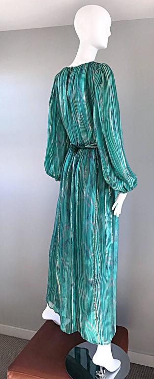 Women's 1970s Diane Dickinson Vintage Green + Gold Silk Rhinestone Belted Gown / Dress For Sale