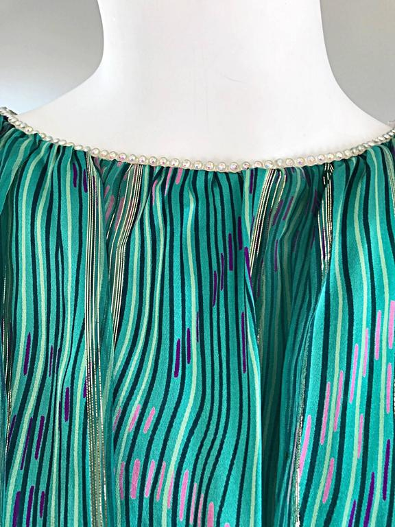 1970s Diane Dickinson Vintage Green + Gold Silk Rhinestone Belted Gown / Dress For Sale 1
