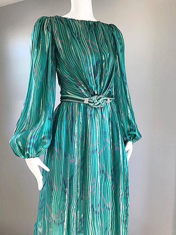 1970s Diane Dickinson Vintage Green + Gold Silk Rhinestone Belted Gown / Dress For Sale 2