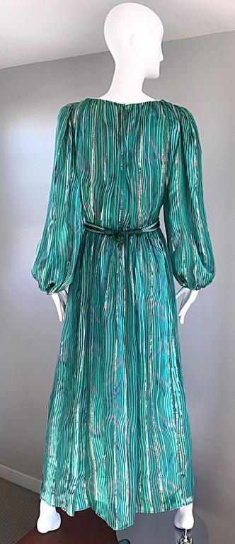 1970s Diane Dickinson Vintage Green + Gold Silk Rhinestone Belted Gown / Dress For Sale 3