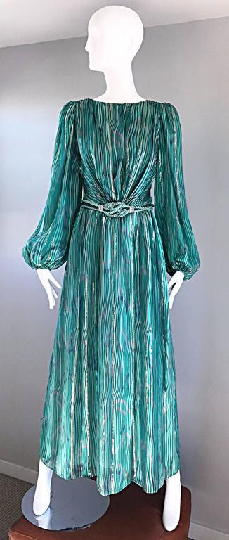 1970s Diane Dickinson Vintage Green + Gold Silk Rhinestone Belted Gown / Dress For Sale 4