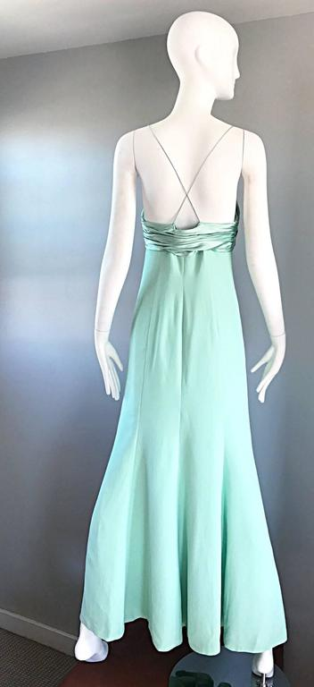 1990s Valentino Vintage Light Mint Green 90s Beautiful Crepe + Silk Gown / Dress In Excellent Condition For Sale In San Francisco, CA