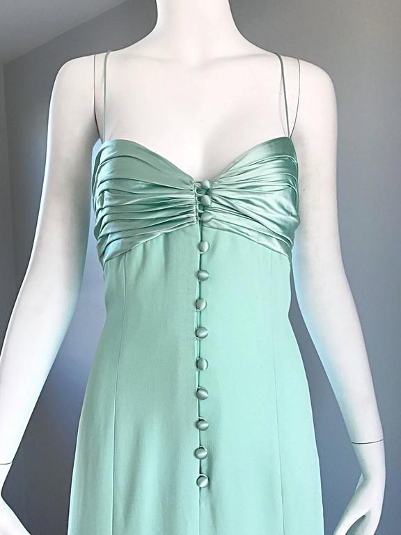 Women's 1990s Valentino Vintage Light Mint Green 90s Beautiful Crepe + Silk Gown / Dress For Sale