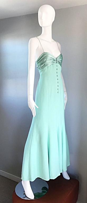 1990s Valentino Vintage Light Mint Green 90s Beautiful Crepe + Silk Gown / Dress For Sale 1