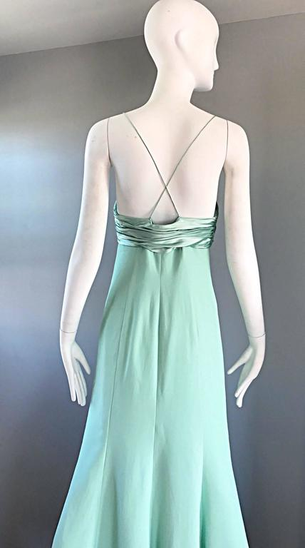 1990s Valentino Vintage Light Mint Green 90s Beautiful Crepe + Silk Gown / Dress For Sale 2