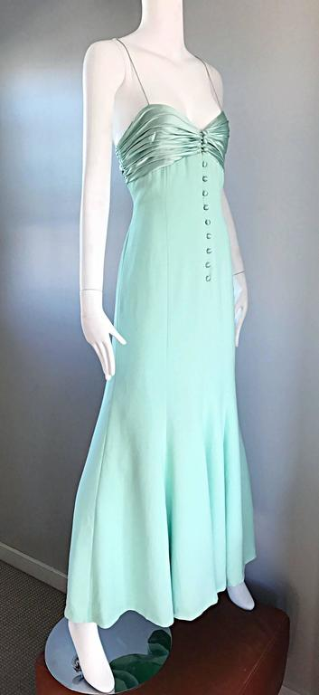 1990s Valentino Vintage Light Mint Green 90s Beautiful Crepe + Silk Gown / Dress For Sale 3