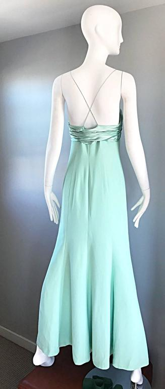 1990s Valentino Vintage Light Mint Green 90s Beautiful Crepe + Silk Gown / Dress For Sale 4