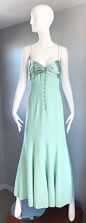1990s Valentino Vintage Light Mint Green 90s Beautiful Crepe + Silk Gown / Dress For Sale 5