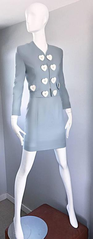Women's Vintage Moschino Cheap & Chic Pale Blue 1990s Heart Buttons Novelty Skirt Suit For Sale