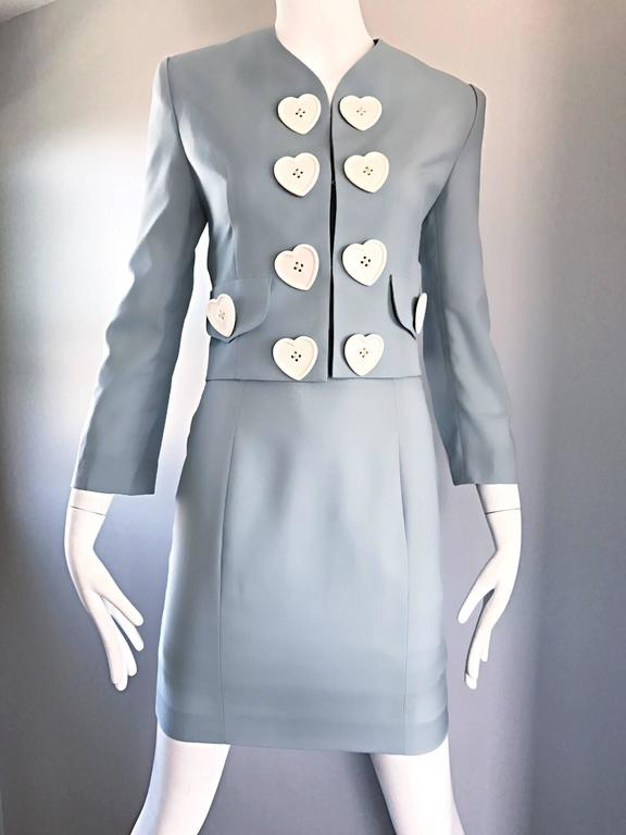 Vintage Moschino Cheap & Chic Pale Blue 1990s Heart Buttons Novelty Skirt Suit For Sale 2