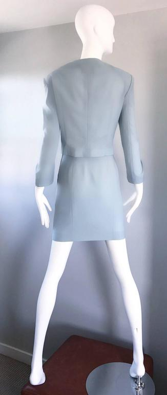 Vintage Moschino Cheap & Chic Pale Blue 1990s Heart Buttons Novelty Skirt Suit For Sale 1