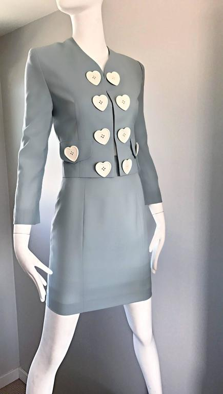 Vintage Moschino Cheap & Chic Pale Blue 1990s Heart Buttons Novelty Skirt Suit For Sale 3