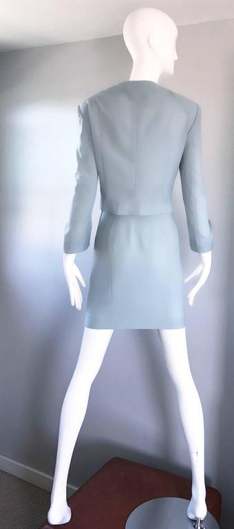 Vintage Moschino Cheap & Chic Pale Blue 1990s Heart Buttons Novelty Skirt Suit For Sale 4