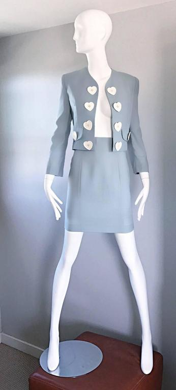 Vintage Moschino Cheap & Chic Pale Blue 1990s Heart Buttons Novelty Skirt Suit In Excellent Condition For Sale In Chicago, IL