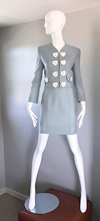 Vintage Moschino Cheap & Chic Pale Blue 1990s Heart Buttons Novelty Skirt Suit For Sale 5