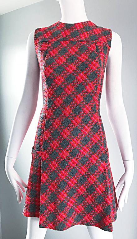 Rare 1960s Beau Time Pink + Orange + Red + Grey Plaid A - Line Vintage Mod Dress 3